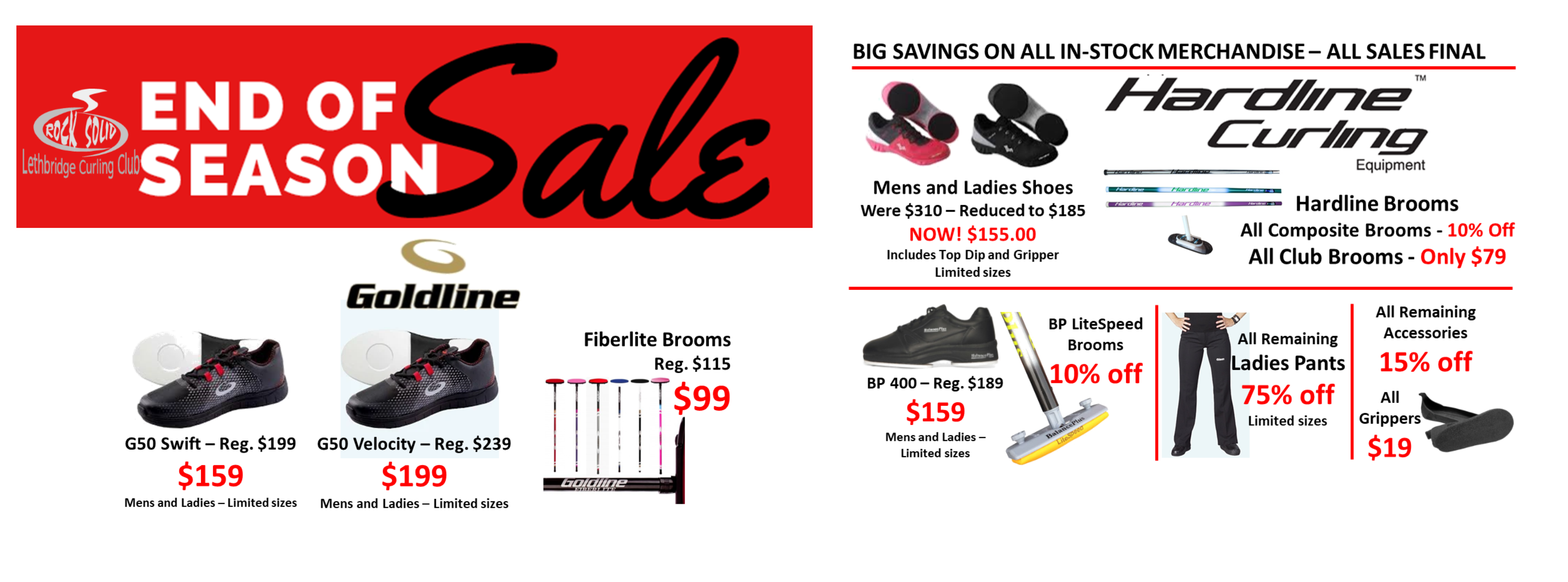 <div id=slideshow_title>END OF SEASON SALE ON NOW!</div> <br><div style='text-align: left; font-size: 18px;'>While Supplies Last - Some items limited quantities.</div>